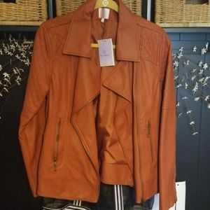 067afe2d668 Women Orange Leather Jacket on Poshmark